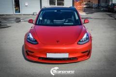 Tesla Model 3 helfoliert med Dragon Fire Red fra 3M , Chrome delete-15