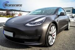 Tesla Model 3 helfoliert i fargen Matt Diamond Black pwf --14