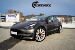 Tesla Model 3 helfoliert i fargen Matt Diamond Black pwf --19