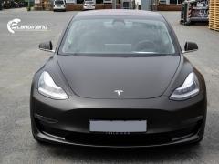 Tesla Model 3 helfoliert med Matt Diamond Black fra PWF-6