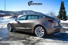 Tesla model 3 helfoliert med Matt Frozen Bronze fra PWF.