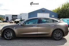Tesla Model 3 helfoliert med Matt Frozen Bronze fra PWF-4