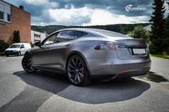 Tesla Model S foliert med Satin Dark Grey ,Solfilm Astolpe, Chrome delete -12