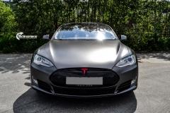 Tesla Model S foliert med Satin Dark Grey ,Solfilm Astolpe, Chrome delete -7