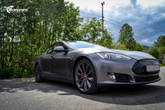 Tesla Model S foliert med Satin Dark Grey ,Solfilm Astolpe, Chrome delete -8