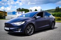 Tesla Model X helfoliert med Matt Space Mugello fra PWF,Chrome delete ,Solfilm
