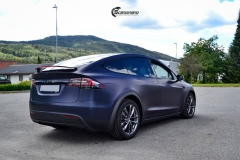 Tesla Model X helfoliert med Matt Space Mugello fra PWF,Chrome delete, Solfilm-13