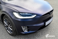 Tesla Model X helfoliert med Matt Space Mugello fra PWF,Chrome delete, Solfilm-14