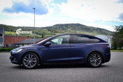 Tesla Model X helfoliert med Matt Space Mugello fra PWF,Chrome delete, Solfilm-3
