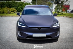 Tesla Model X helfoliert med Matt Space Mugello fra PWF,Chrome delete, Solfilm-7