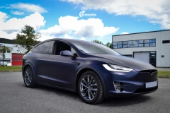 Tesla Model X helfoliert med Matt Space Mugello fra PWF,Chrome delete, Solfilm-9