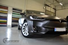 Tesla Model X helfoliert med Satin Dark Grey fra 3M, Solfilm,Chrme delete-3