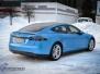 Tesla S foliert med matt anodized blue pwf