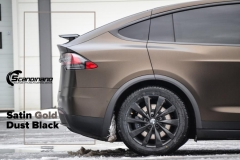 Tesla X foliert i Satin Gold Dust Black Scandinano-6