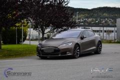 Teslo Model S foliert i Matt frozen Bronze-4