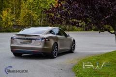 Teslo Model S foliert i Matt frozen Bronze-6