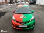 Toyota Yaris helfoliert i 2 farger Gloss Green Envy  Gloss Dragon Fire Red, Dekor